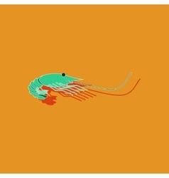 Paper sticker on background of shrimp vector