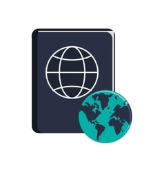 passport and earth globe icon vector image