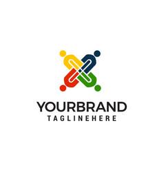 people cross team work logo design concept vector image