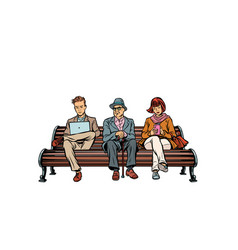 People sit on the bench pensioner woman and man vector