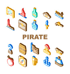 Pirate sea robber collection icons set vector