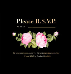 rsvp invitation card with floral rose garland and vector image