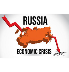 Russia map financial crisis economic collapse vector