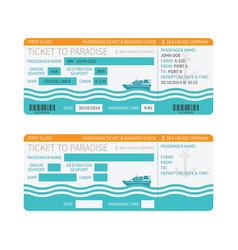 Sea cruise ship boarding pass or ticket template vector