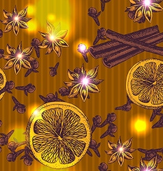 Seamless pattern of winter spices vector