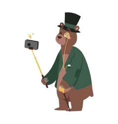 Selfie photo bear business man portrait vector