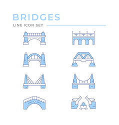 set color line icons bridges vector image