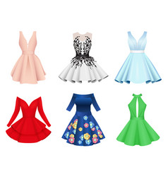 set elegant colorful women cocktail dresses vector image