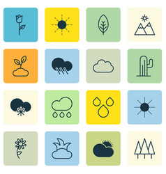 Set of 16 landscape icons includes raindrop vector