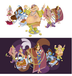 Set of isolated indian gods meditation in yoga vector