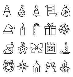 Set of linear icons Christmas and New Year vector