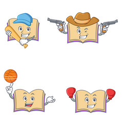 Set of open book character with baseball cowboy vector