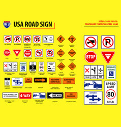 set of usa road sign vector image