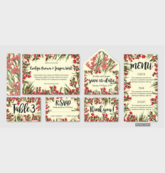 set wedding invitation templates with leaves vector image