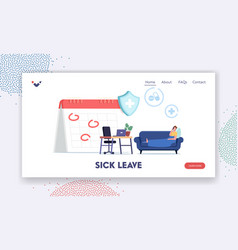 Sick leave landing page template diseased male vector