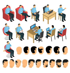 sitting man creation set vector image