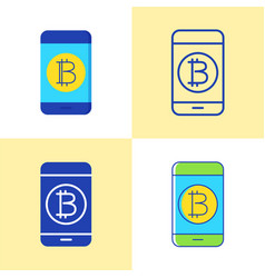 smartphone with bitcoin icon set in flat and line vector image