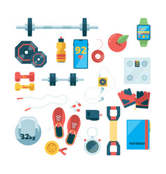 sport objects top view fitness training equipment vector image