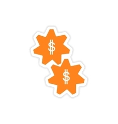 Stylish sticker on paper gears and dollar vector