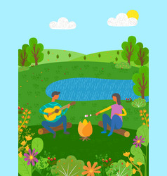 Summer vacation couple on nature acoustic guitar vector