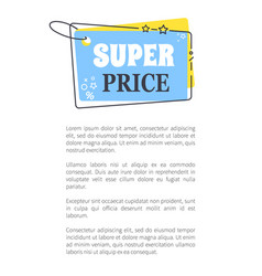 super price promo sticker in square shape frame vector image