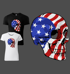 t-shirt skull painted with american flag vector image