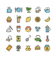 Tea ceremony color thin line icon set vector