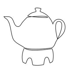 Tea set one line drawing concept vector