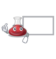 Thumbs up with board character glass decanter with vector