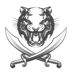 Tiger face and arabian swords vector