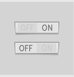 Toggle switch buttons on and off 3d rectangle vector