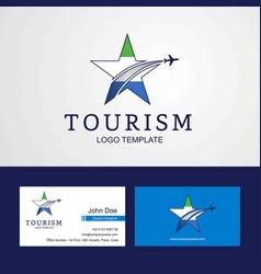 Travel sierra leone flag creative star logo and vector
