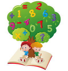 Two boys studying math under tree vector
