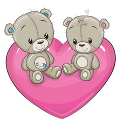 Two teddy bears are sitting on a heart vector