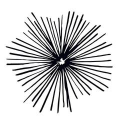 Vintage sunburst explosion ink hand drawn vector