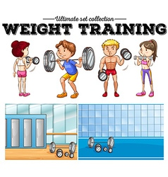 Weight training and gym vector