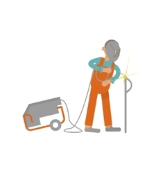 welder working in flat design vector image