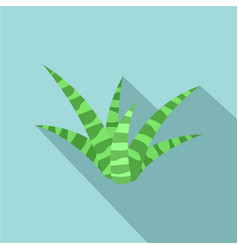 White green aloe icon flat style vector