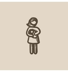 Woman holding baby sketch icon vector