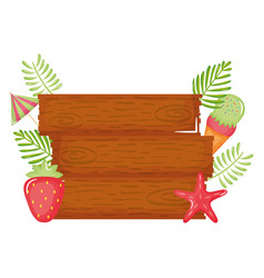 wooden label with ice cream and strawberry vector image