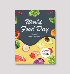 World food day poster design with cauliflower vector