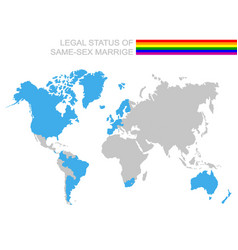 world map with legal status of same-sex marriage vector image