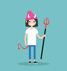 young female character wearing devil elements vector image