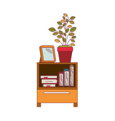 colorful graphic of decorative cabinet table with vector image vector image