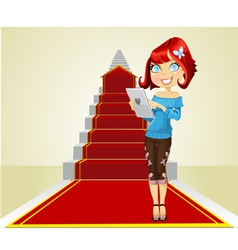 Cute girl with laptop on the career ladder vector image