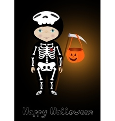 Happy Halloween card with cute skeleton vector image vector image