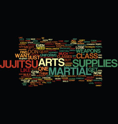 martial arts supplies text background word cloud vector image vector image