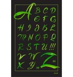 Set hand-drawn calligraphy alphabet on black vector image