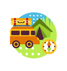 creative landscape with van bus tent and compass vector image vector image