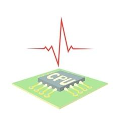 High CPU temperature icon cartoon style vector image